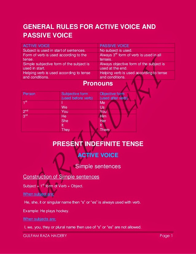 exercise active and passive voice A sentence has been given in active/passive voice out of the suggested alternatives, select the one which expresses the same sentence in passive/active voice 1 the opposition has criticized the government's foreign policy.