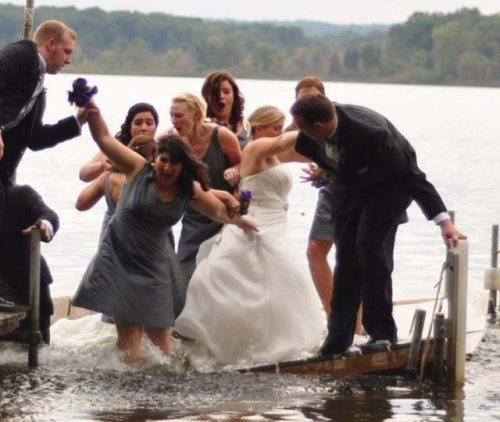 Falling bridge wedding