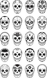 Examples of sugar skulls