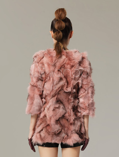 Solid Color Fox Fur Beautiful Fur Coat for Woman