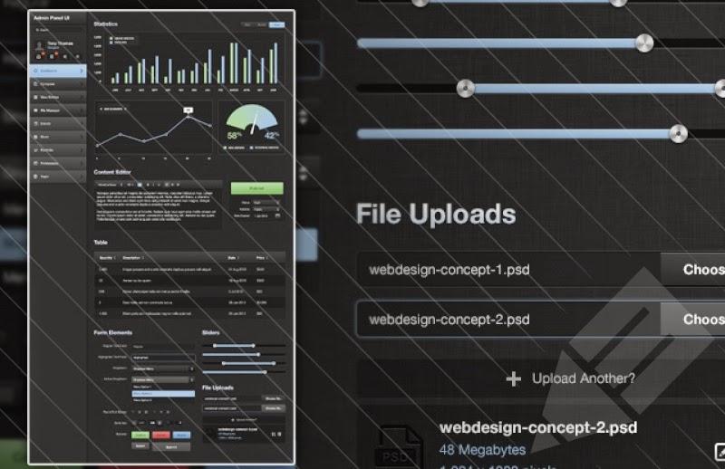 Dark Admin Panel UI Kit PSD
