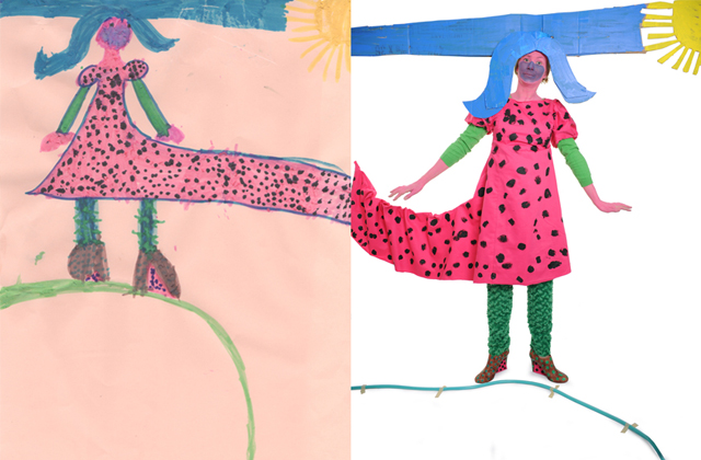 Drawing by Rose (on left hand side) of a lady with blue hair and a pink dress.  Photograph of me attempting to carry off this look on the right hand side.