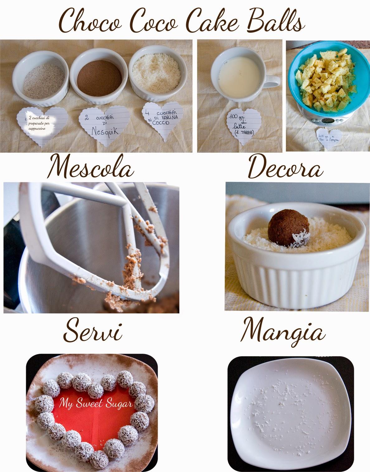 choco coco cake balls ricetta per piccoli