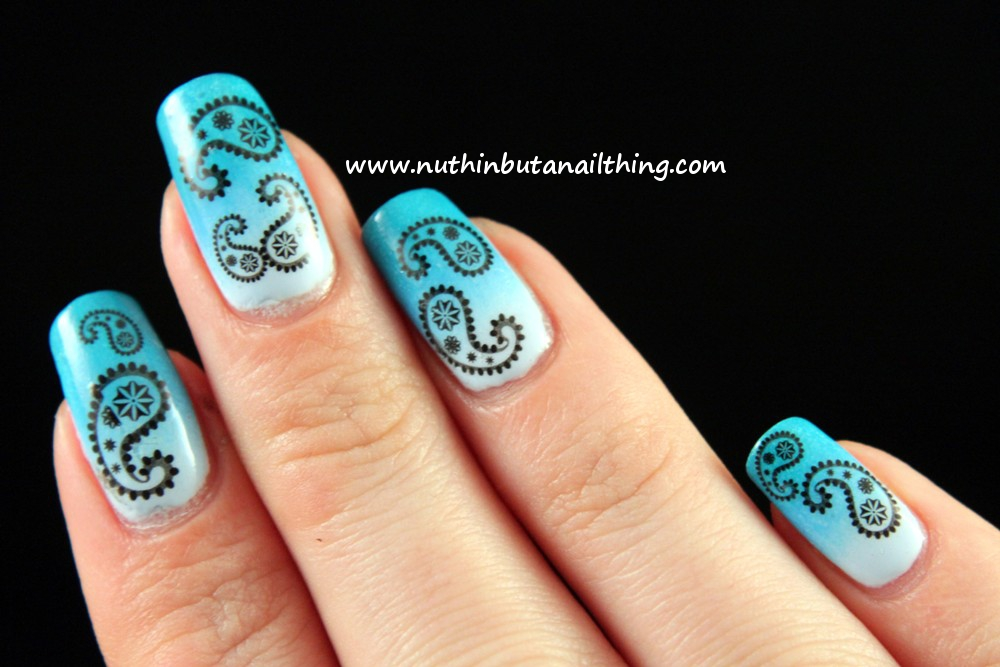 nuthin\' but a nail thing: Paisley nails, and a blue gradient