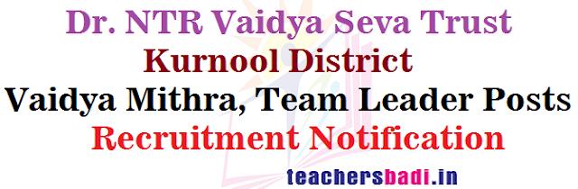 Dr.NTR Vaidya Seva Trust, Kurnool Vaidya Mithra, Team Leader Posts