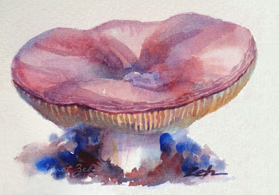 Pink Mushroom Watercolor Painting