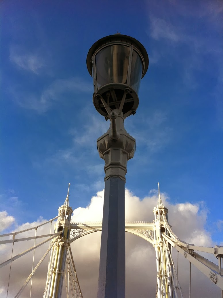 Street lamp with Albert Bridge in background, Battersea, London