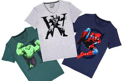 Tshirts Marvel Celio - Hulk, Wolverine et Spiderman