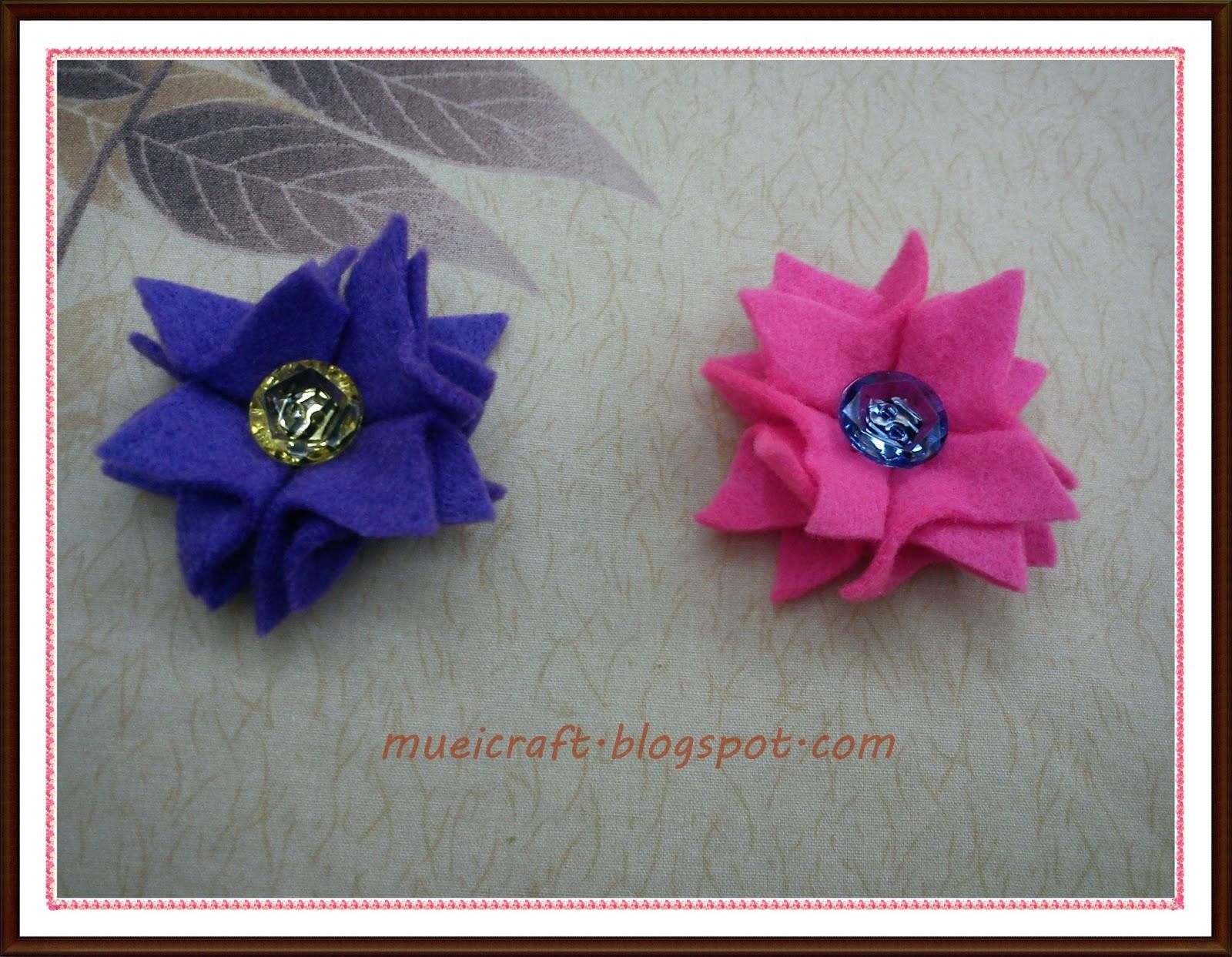 terbaru : kreasi flanel bros bunga / Felt flowers pins