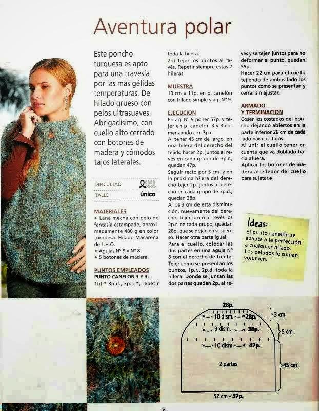 4 patrones de ponchos tejidos con dos agujas | Crochet y Dos ...