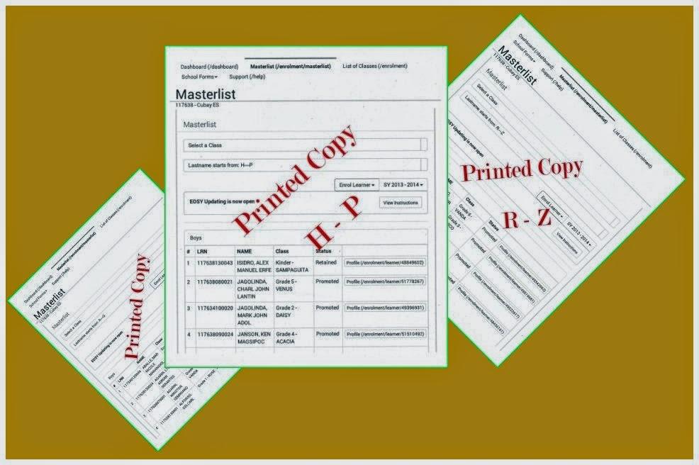 printed copies of masterlist