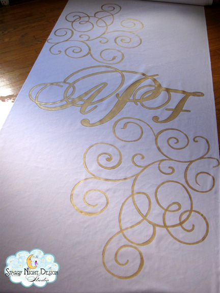 Ashley contacted us to do a custom aisle runner for her wedding that