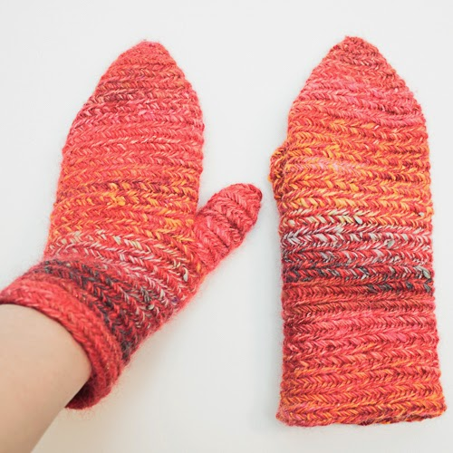 Finnish Stitch 3+3 mittens from handspun yarn - mixed batts from Moonrover and SD Natural Colored Wool