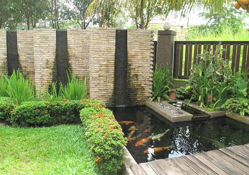 kolam ikan elemen air pada taman rumah rumah bagus