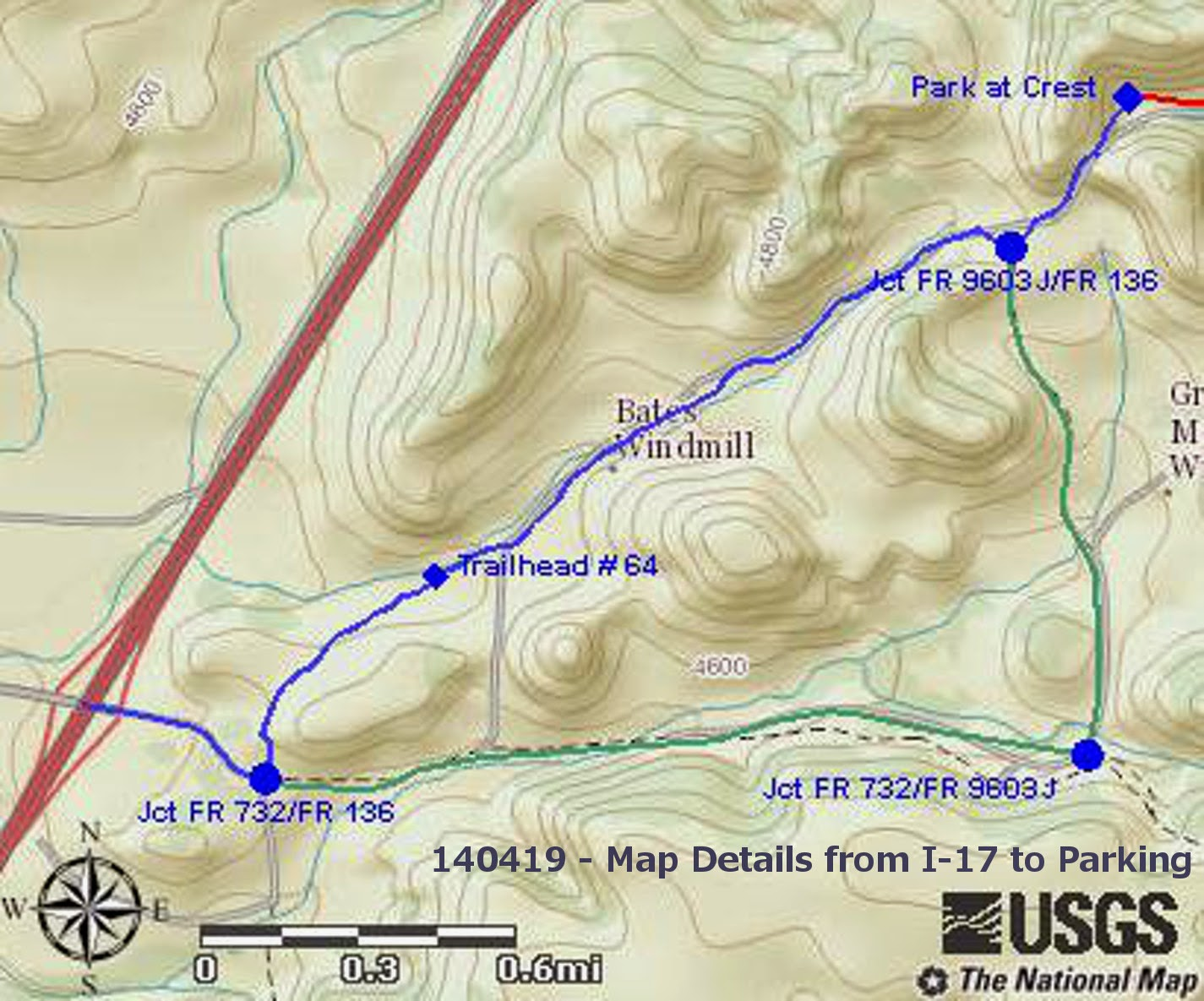 map showing route and alternate route to parking at the crest