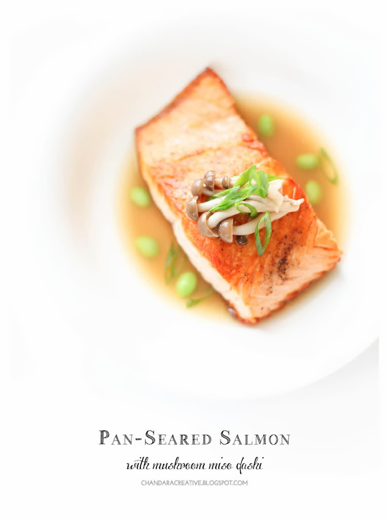 Pan-Seared Salmon with Mushroom-Miso Dashi | via Chandara Creative