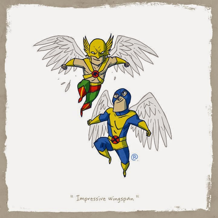Hawkman and Angel flying together in the sky.