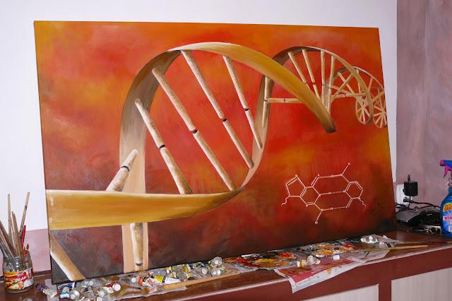 Malowanie na zamówienie obrazu olejnego abstrakcja przedstawiająca DNA, cena reprodukcji