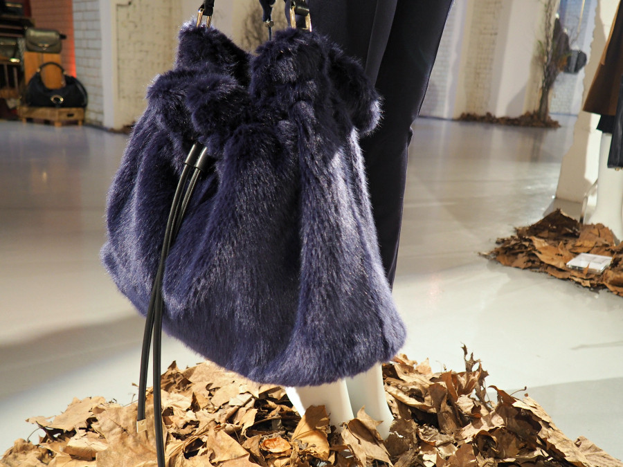 Navy furry handbag by RJR. John Rocha for Debenhams press day