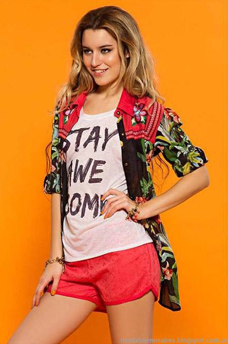 Sophya verano 2015 kimonos, camisas, blusas y shorts, looks comodos y femeninos 2015.