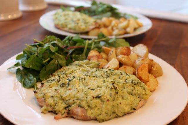 Hello Fresh Garlicky Courgette Chicken Gratin with Roasted New Potatoes and Steve's Leaves