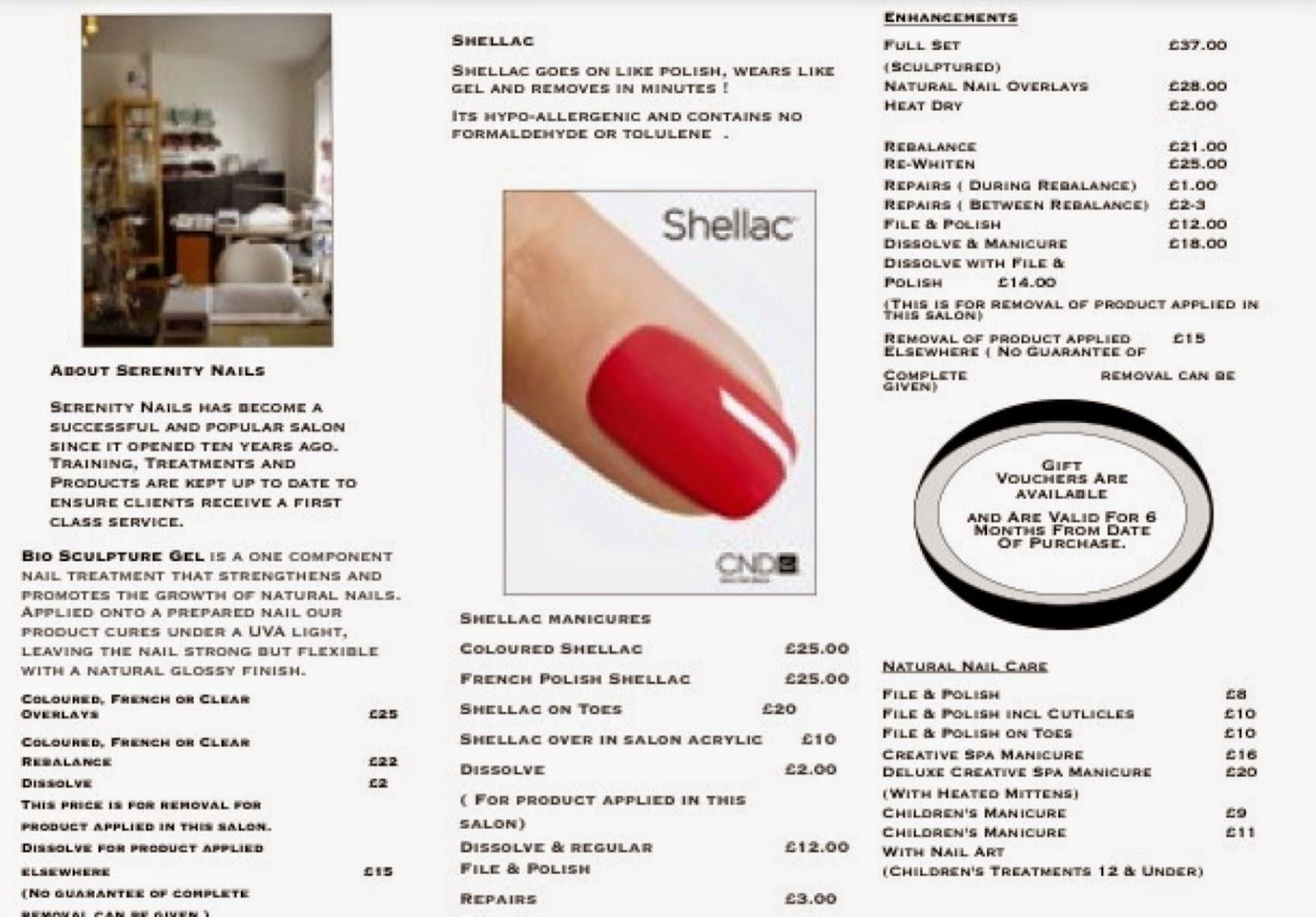 Serenity Skincare and Nails: Serenity Nail Treatment Menu