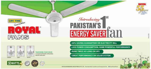 Royal Fans Pakistan Energy Saver Fan Price in Pakistan 2015