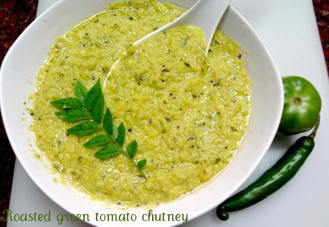 Roasted green tomato chutney