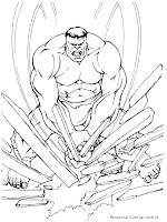 Gambar Mewarnai Hulk Menghancurkan Penghalang Jalan