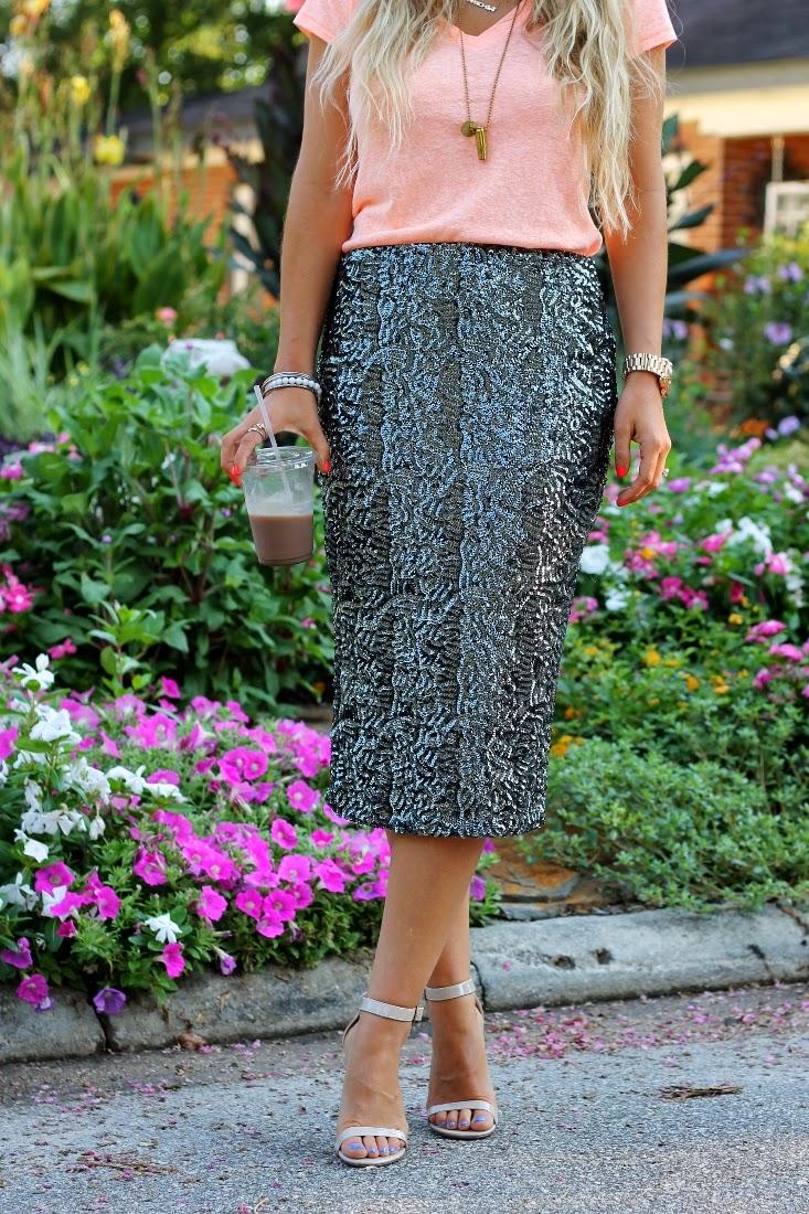 Target Neon Boyfriend Tee Shirt - Target Gunmetal Sequin Pencil Skirt