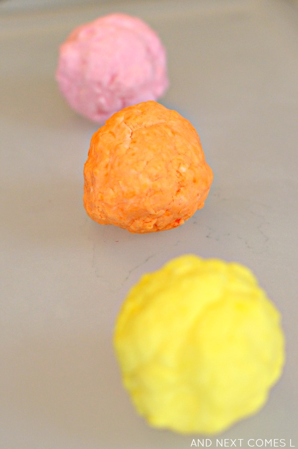 Citrus scented easy dough inspired by the book 150+ Screen-Free Activities for Kids from And Next Comes L