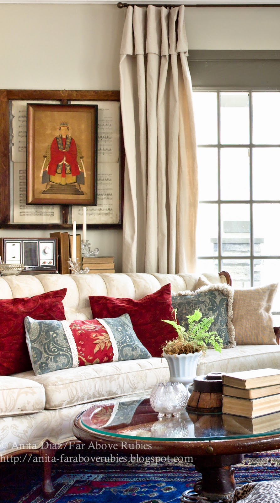 Far above rubies more diy drop cloth curtains in the living room for Diy curtain ideas for living room