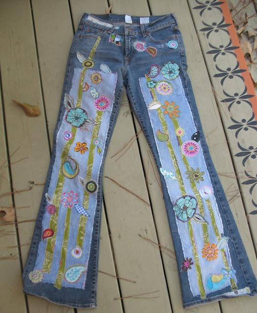 Denim jeans  - Calças e saisas  de ganga em patchwork