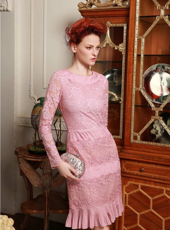 QueUsar.com: Vestido rosado de manga larga, encaje y con volados en ...