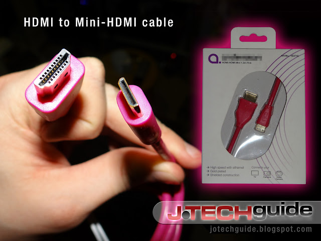 Mini HDMI cable in hot pink