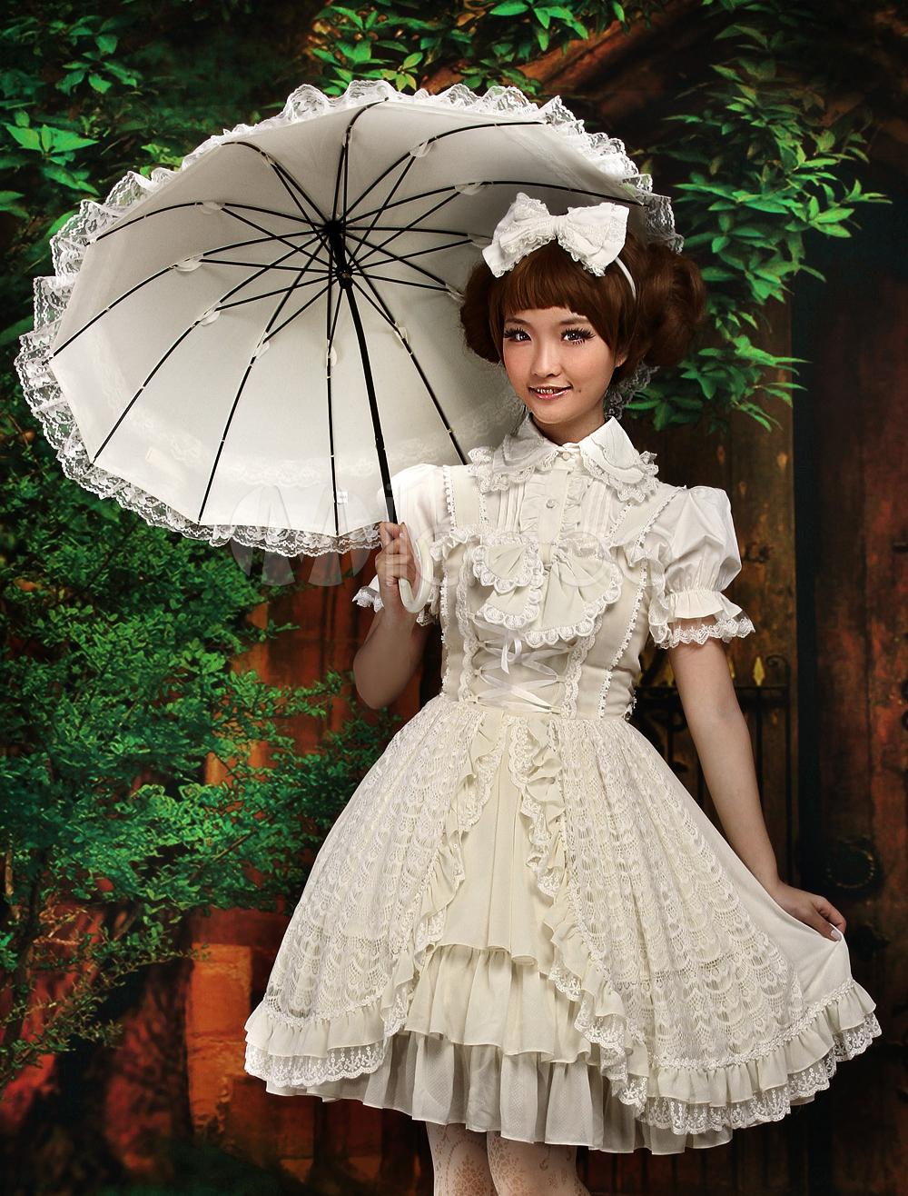 Sweet Ecru White Bow Chiffon Lolita Jumper Skirt