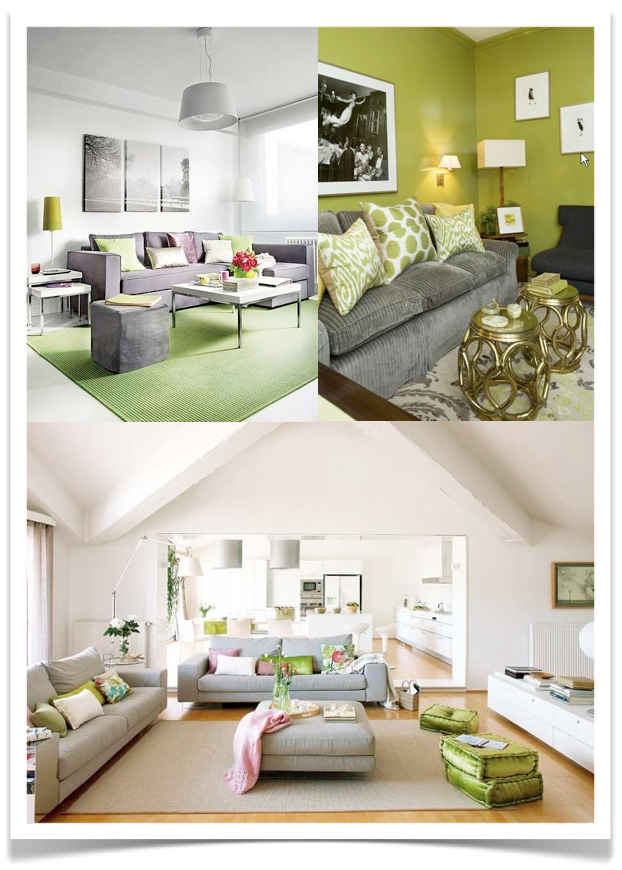 walls and green accents or grey furnishings green walls and white