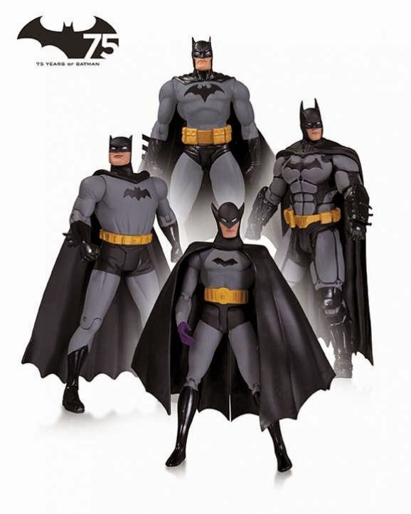 "Batman 75th Anniversary Action Figure 4 Pack Set 1 - ""First Appearance"" Batman by Bob Kane, ""Hush"" Batman by Jim Lee, ""New Frontier"" Batman by Darwyn Cooke & ""Batman Arkham Origins"" Batman"