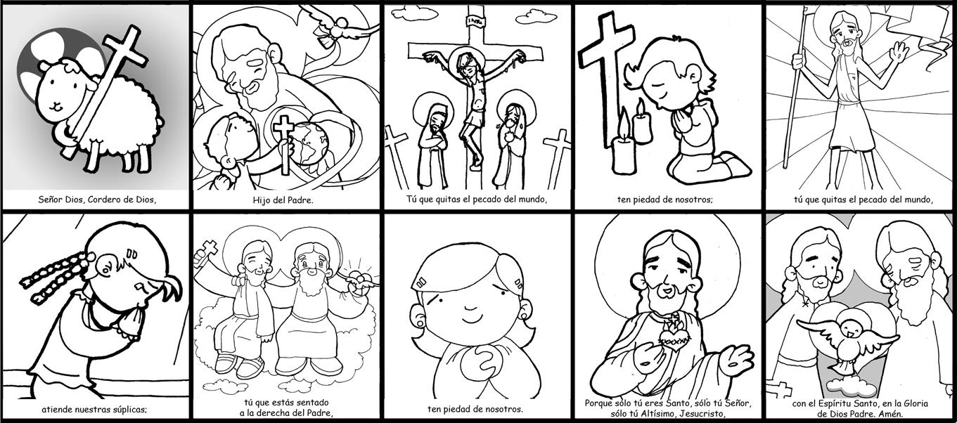 Dibujos para catequesis: ORACIÓN DEL GLORIA (Misa)