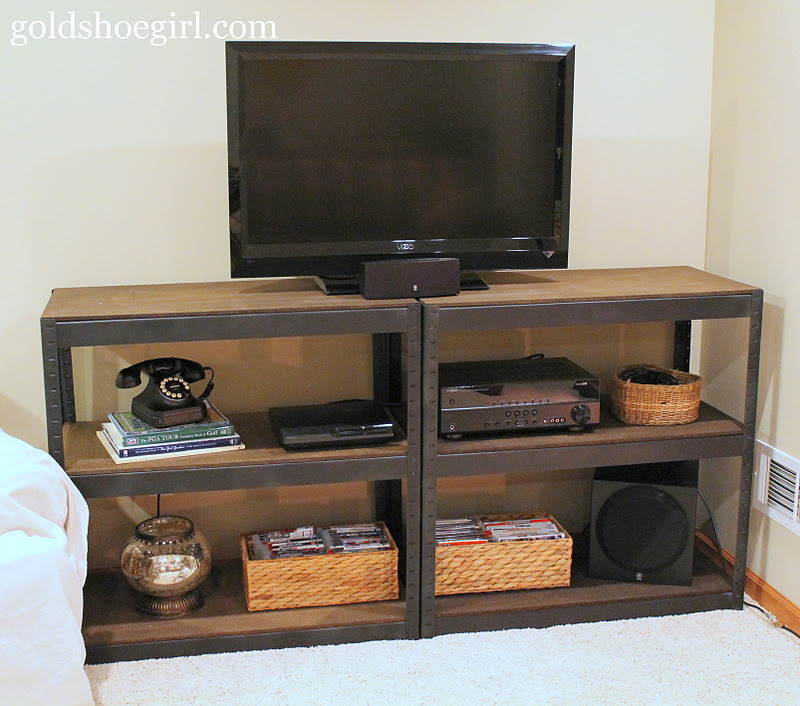 gold shoe girl diy industrial style media center