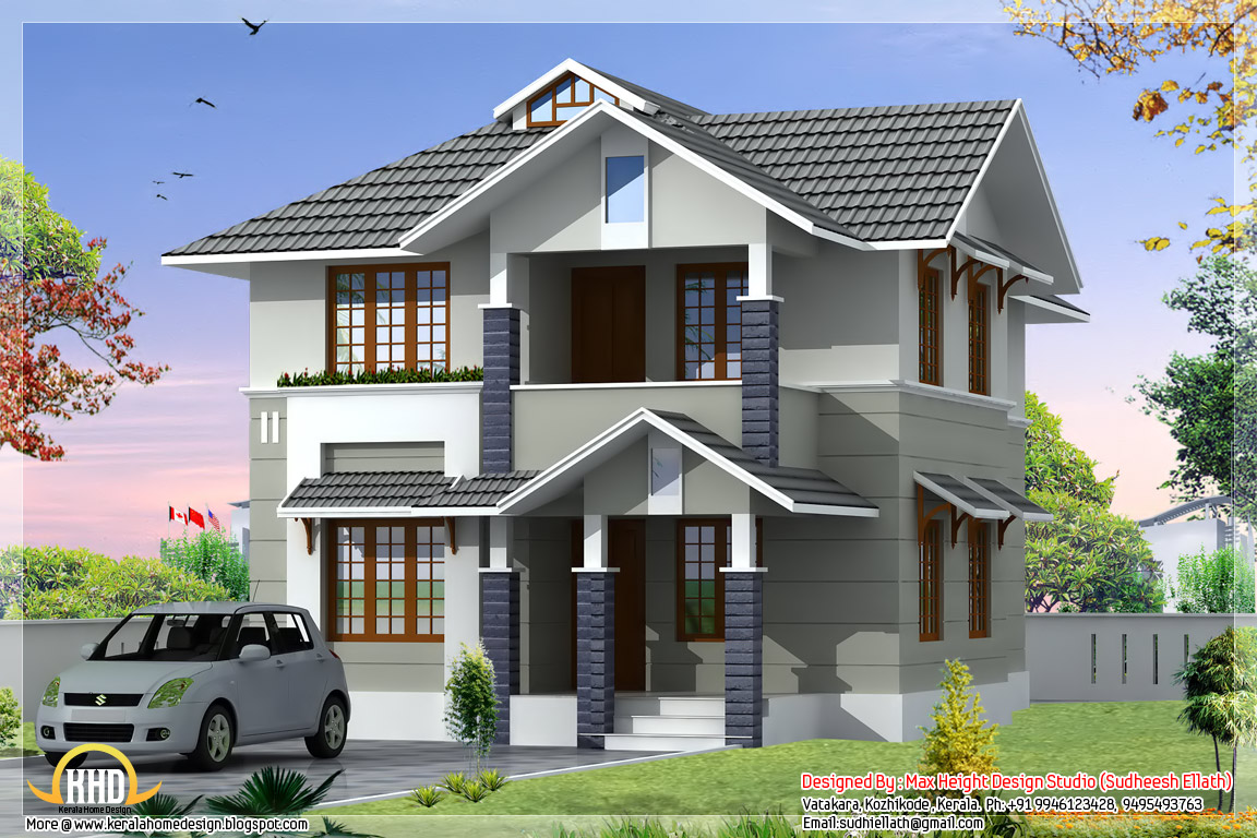 Beautiful 3 bedroom 1610 kerala home design for Beautiful home design