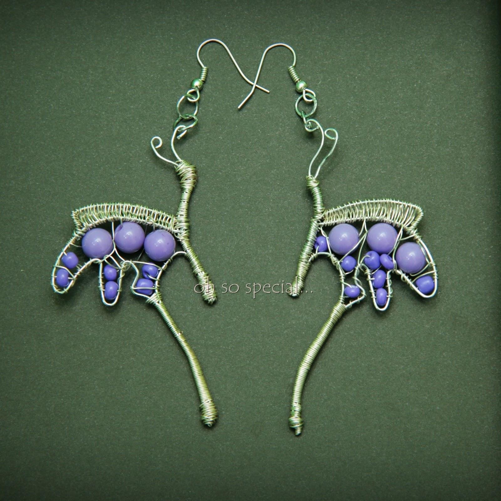 ręcznie robione kolczyki w kształcie motyla