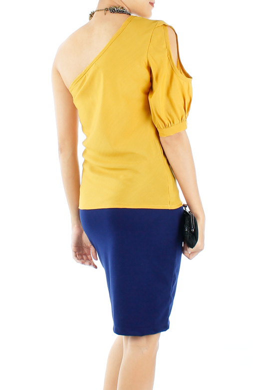 Yellow Peek-a-boo One Shoulder Top