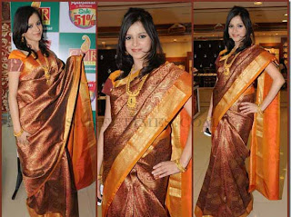best kancheepuram golden silk saree for party wear