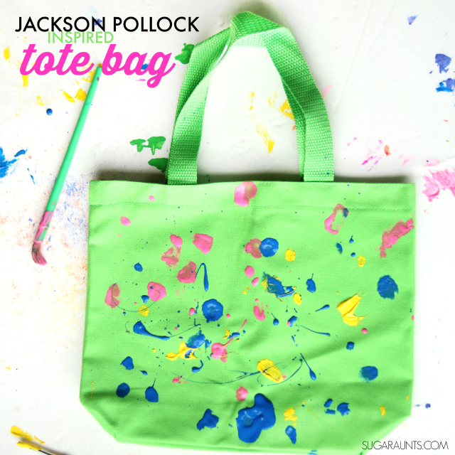 Jackson Pollock inspired tote bag art for second graders (or any age!) that wants to explore Pollock's use of movement, balance, and control in his painting technique.  Create a unique and creative art project, too!