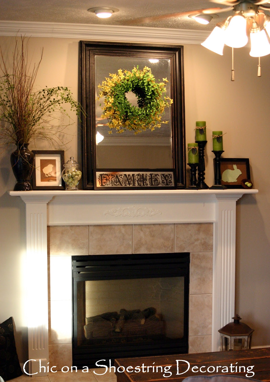 Design Mantle Decor chic on a shoestring decorating easter mantel the cheap spring mantle mantel