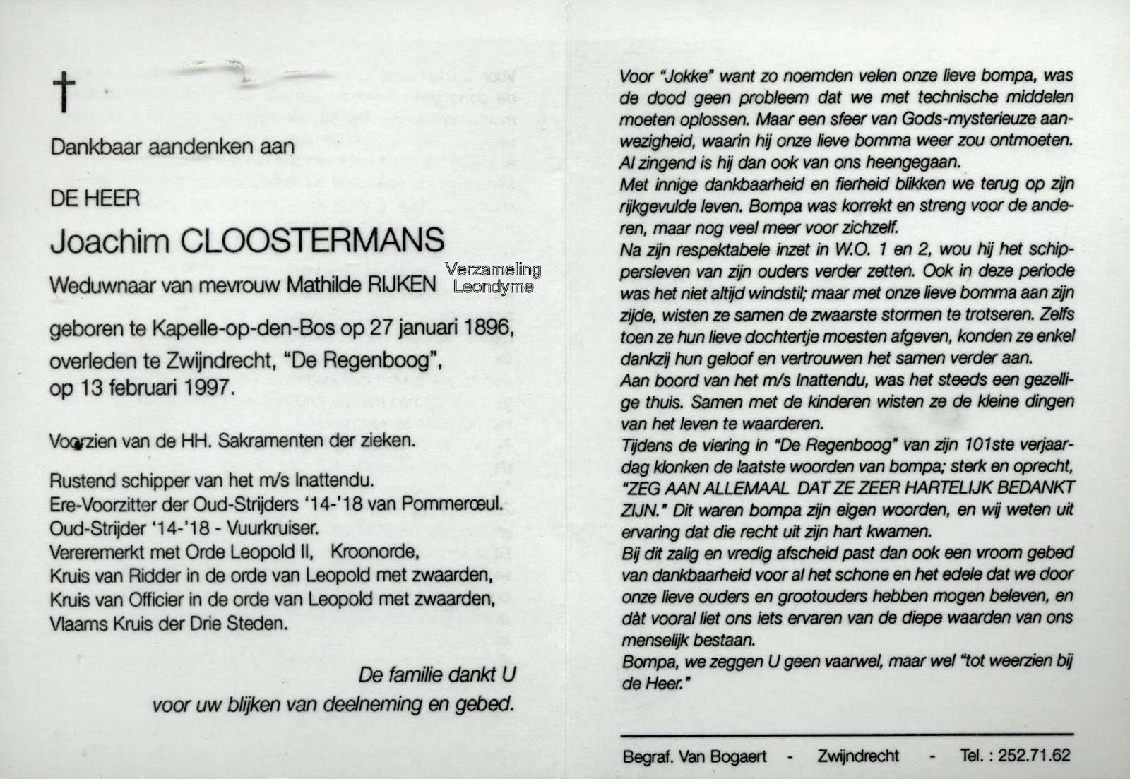 Bidprentje, Joachim Cloostermans. Verzameling Leondyme