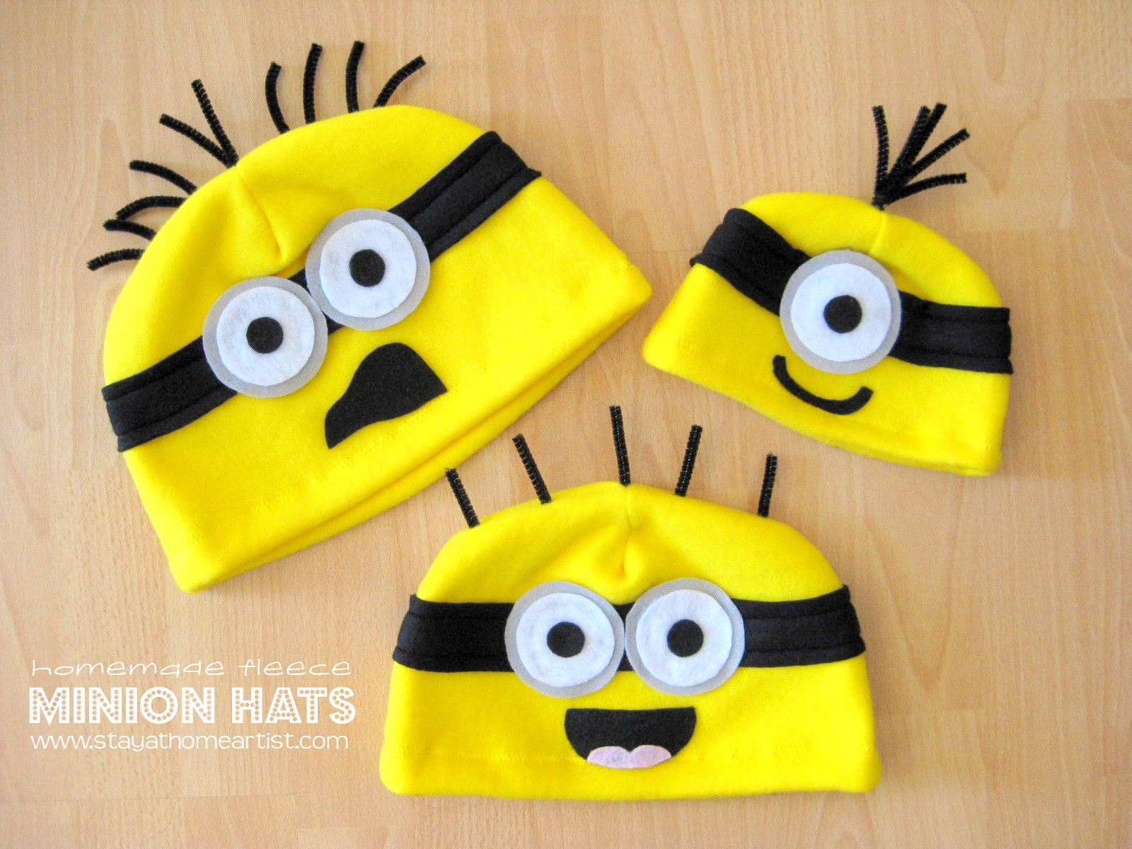 I ... & stayathomeartist.com: homemade fleece minion hats...