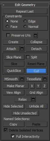 Botón cut en el panel de comandos de 3ds max
