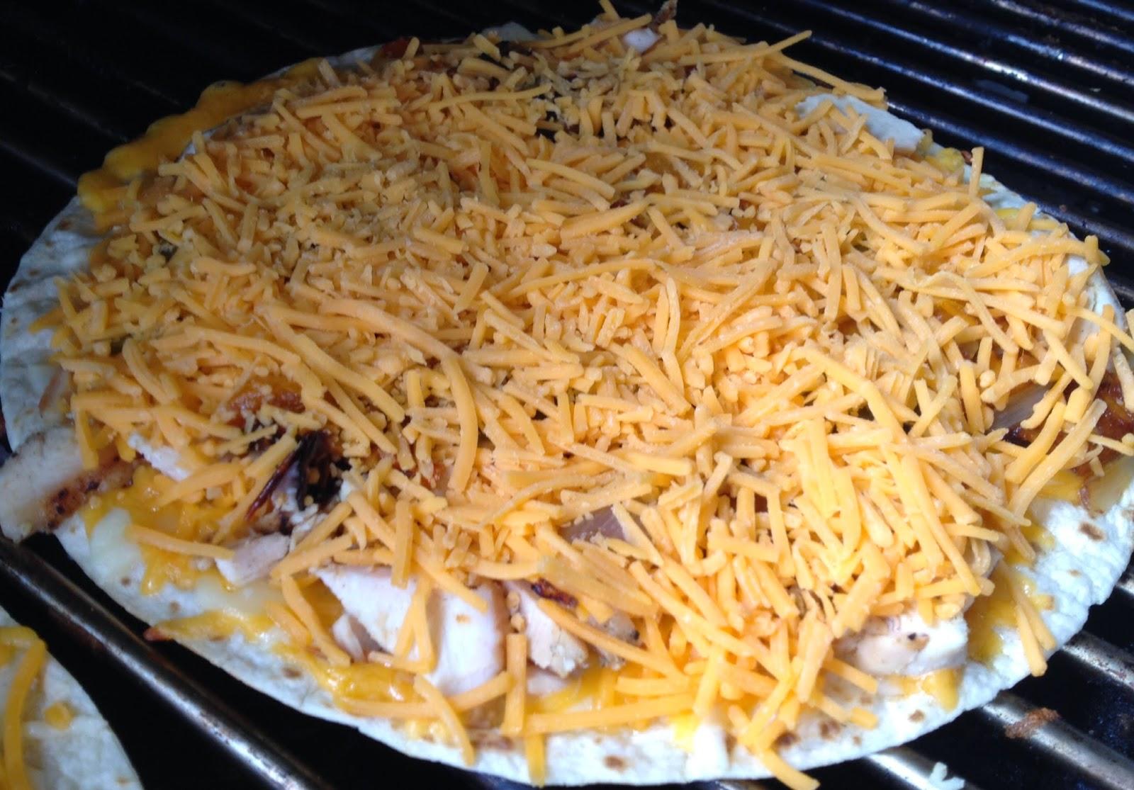 Keep an eye on the bottom tortilla, when it's crispy,